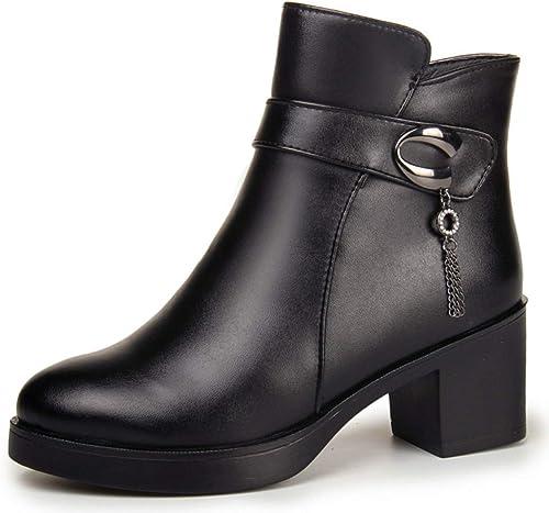Shiney Bottines en Cuir des Femmes De Plus Chaussures en Coton De Velours