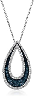 Sterling Silver 1/5 cttw Blue and White Diamond Drop Pendant Necklace, 18