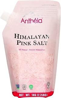 Anthéla Himalayan Pink Salt, Premium Organic Gourmet 100% Pure Ancient Mineral Sea Salt. Natural and Amazing Flavor. Non-GMO, Kosher, Halal, Sedex Certified. Coarse Grain Refill bag 2.2lbs