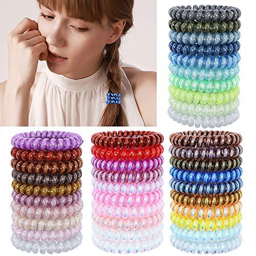 40 pezzi di fasce per capelli a molla senza piega spirale spirale cravatte per capelli anelli elastici per capelli colorati elastici titolare coda di cavallo per donne ragazze