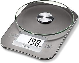Beurer KS 26 Balance de cuisine | Grande surface de pesée en verre | Écran rétroéclairé | Capacité de charge de 5 kg | Fon...