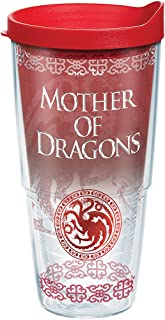 Tervis 1265578 HBO Game of Thrones - Mother of Dragons Insulated Travel Tumbler with Wrap & Lid, 24 oz - Tritan, Clear