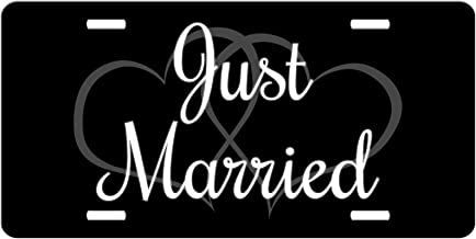 Simply Customized Just Married Car Tag License Plate Hearts Newly Wed Gift Front License Plate Vanity NPLP
