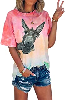 Comaba Womens Gradients Loose Short-Sleeve Cute Tunic T Shirts Tops Blouse