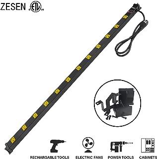 ZESEN 12 Outlet Heavy Duty Workshop Metal Power Strip Surge Protector with 4ft Heavy Duty Cord, ETL Certified, Black