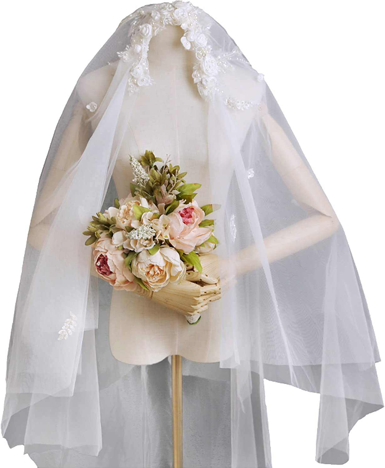 Vintage Lace Bridal Veil Handmade Flower Pearls Two Layers Bridal Accessories for Bride