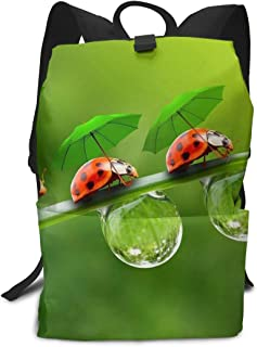 Mochilas y bolsas escolares,Mochilas tipo casual,Cute Coccinella Septempunctata Wear Umbrella Backpack Adult Unisex 3D Outdoor Backpack Polyester Backpacks for Office Storage Backpack 11.4×15 Inch Tr