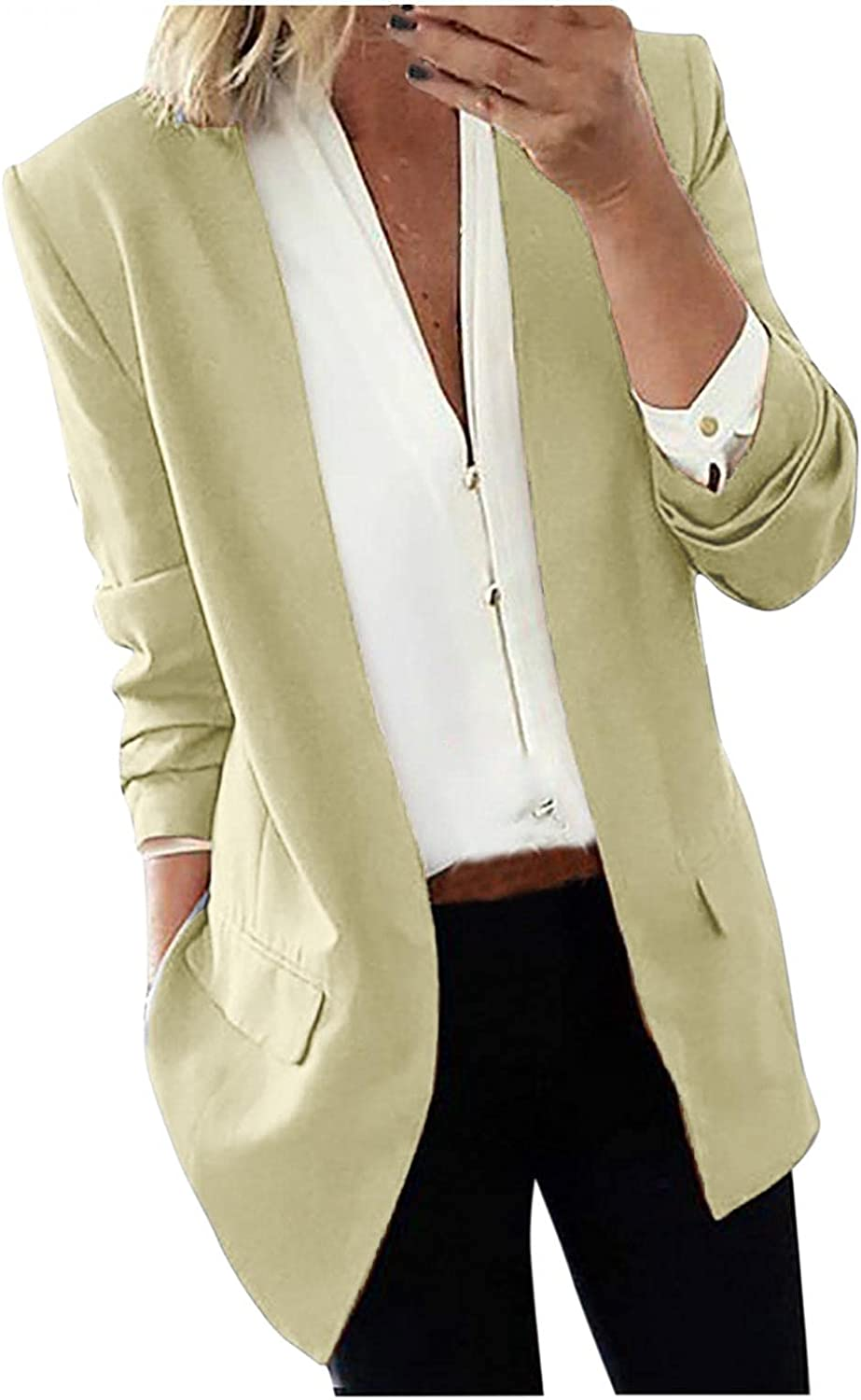 Blazers for Women Business Casual Long Sleeve Jacket With Pocket Fall Cardigan Open Front Solid Color Outwear