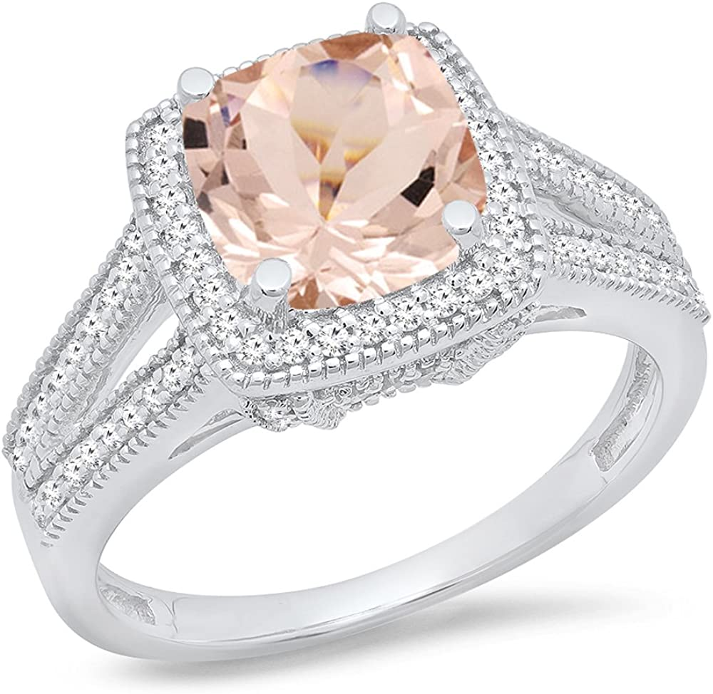 Dazzlingrock Collection 14K Bridal Halo Split Shank Engagement Ring, White Gold
