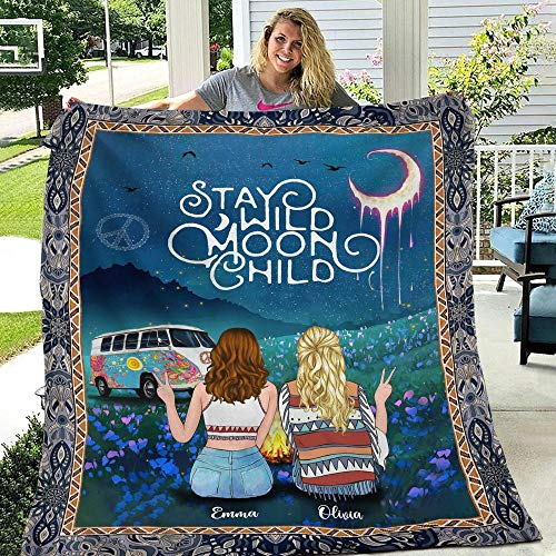 Stay Wild Moon Child Mandala Bohemian Hippie Camper Best Friends Bestie Personalized - Quilt Blanket By Expired Collection, Fleece Blanket, Throw, Bedding, Personalized Gift, Gift For Friend