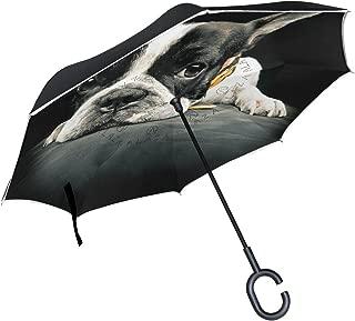 XiangHeFu Parapluies invers/és invers/és Double Couche Mignon Animal Beagle Chien Vintage Motif Pliant Coupe-Vent UV Protection Grand Droit pour Voiture avec poign/ée en Forme de C
