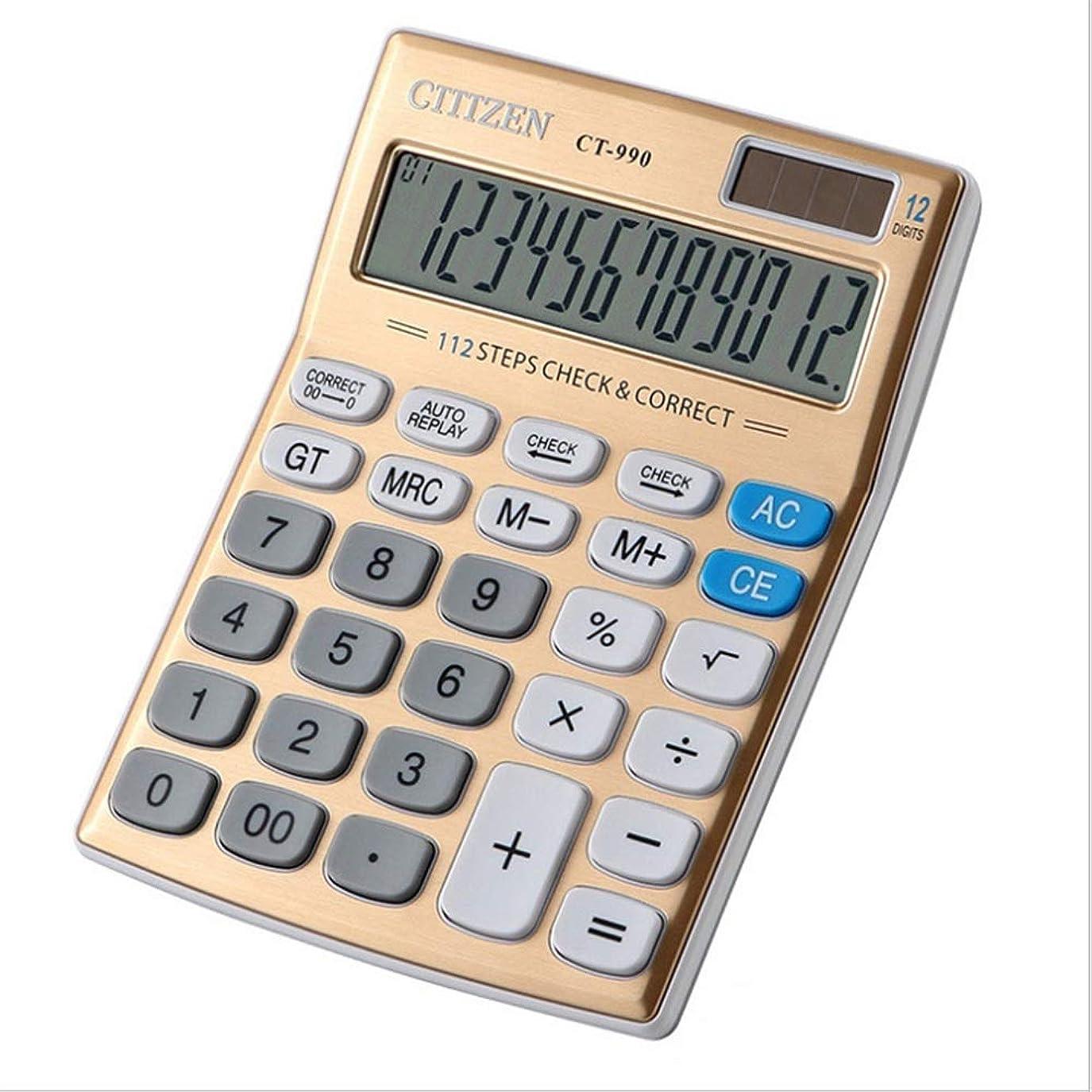 ロッジ累計ペルー電子式電卓 ゴールドカラー12桁の大型ディスプレイ電卓太陽電池の液晶ディスプレイのオフィスの電卓電子デスクトップの電卓ビジネスギフト コンパクトポータブル