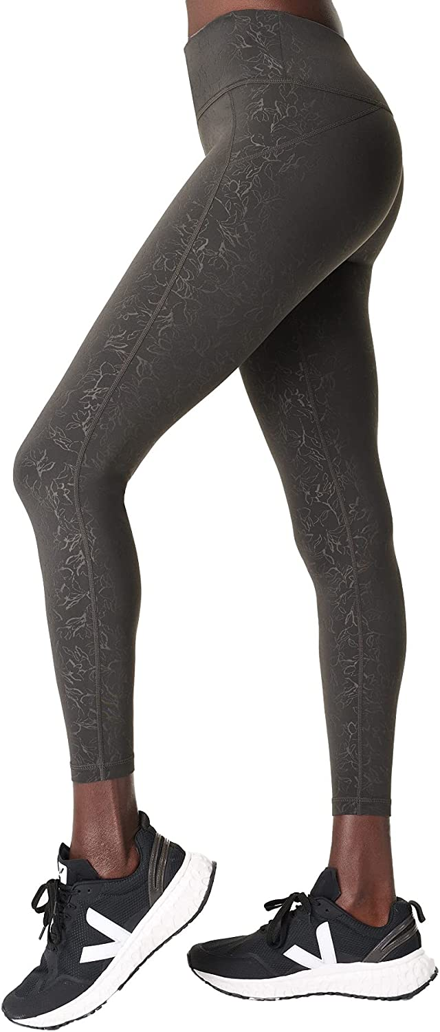 Sweaty Betty Womens Light Weight All Day Emboss 7/8 Workout Leggings with Side Pockets