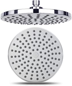 Stanz (TM) High Pressure Shower Head, 8-Inch Chrome Finish Rainfall Shower Head, Angle Adjustable Ball Joint