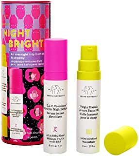 Drunk Elephant NightBright Duo - Nighttime Skincare Routine with T.L.C. Framboos Glycolic Night Serum and Virgin Marula Luxury Facial Oil - 8 Milliliters Each