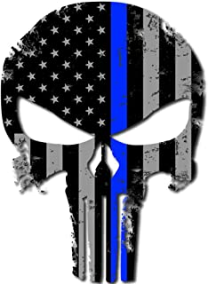 itsaskin1 Punisher Skull Police Blue Line US Sticker Decal America Flag Distressed Blue Lives Matter Large 8