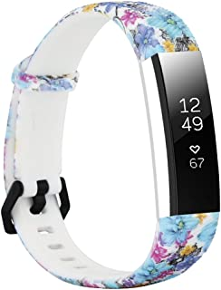 honecumi Floral Pattern Bands Compatible Fitbit Alta/Alat hr Wrist Watch Band Replacement Accessory-Exchange Watch Band Men&Women Colorful Stripe Printing Straps