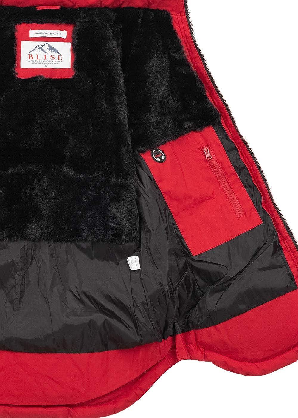Blise Damen Winterjacke Winterparka Kapuze & Webpelz abnehmbar Teddyfutter schwarz Rot