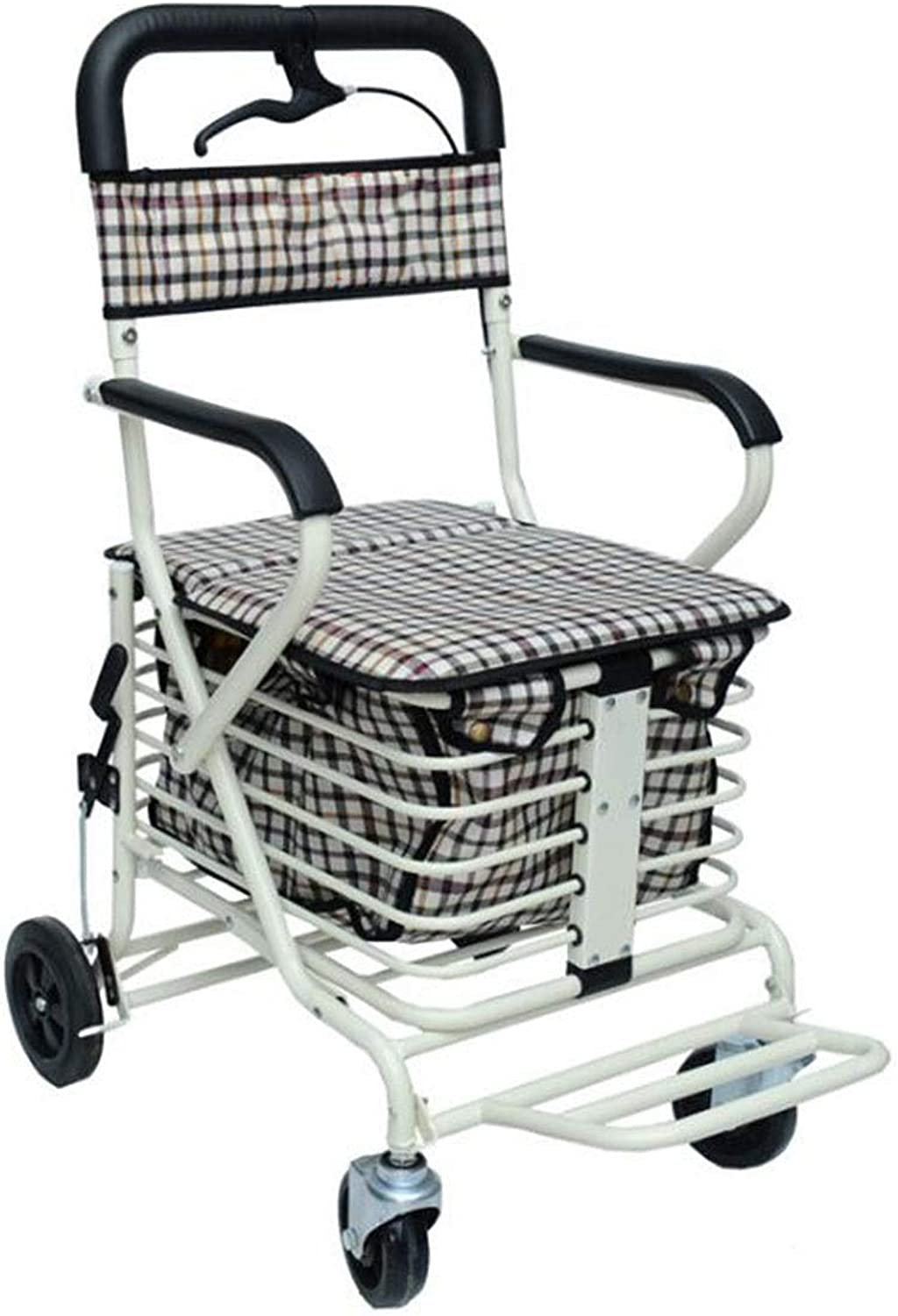 Adjustable Walker Four-Legged Cane Lockable Brake Walker Cane Old Man Auxiliary Walker with Seat with Shopping Basket (color   Natural, Size   C)