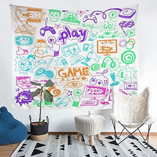 Loussiesd Gamepad Tapiz de pared para niños, videojuegos, tapiz, tapiz para niños, niñas, adolescentes, jugadores, arte de pared de microfibra para dormitorio, sala de estar, VibrantXLarge 69 x 91