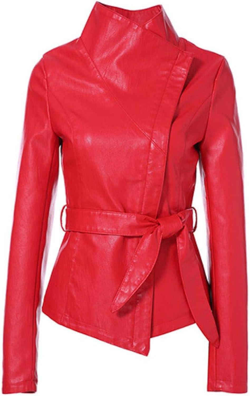 BeautyW Women's Fashion Gothic Leather Jacket Tie Short Leather Coat