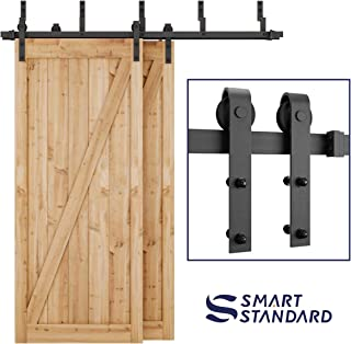 SMARTSTANDARD 6.6ft Heavy Duty Bypass Double Door Sliding Barn Door Hardware Kit - Smoothly &Quietly -Easy to install - Includes Step-By-Step Installation Instruction Fit 40