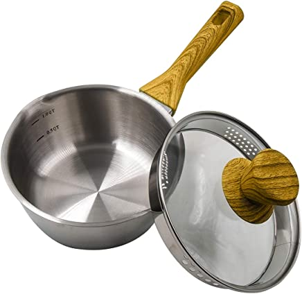 Momscook 1.5-Quart Saucepan Stainless Steel Tri-Ply Bonded Saucepan with Glass Lid,