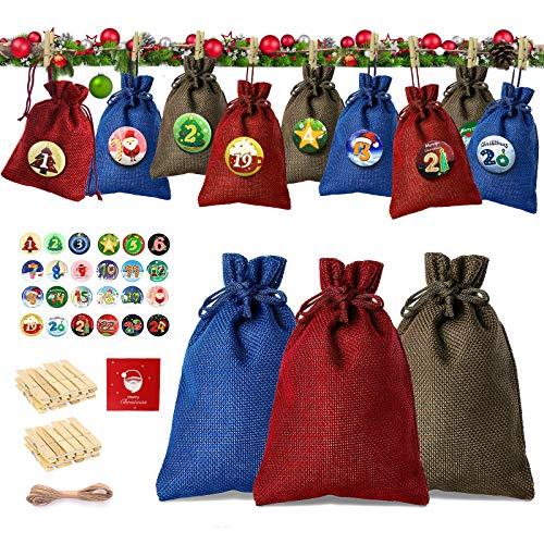 Telgoner Adventskalender zum Befüllen mit 1-24 Zahlen Button, Jutesäckchen Selber Weihnachten Geschenksäckchen, Weihnachtskalender säckchen Geschenkbeutel 10x14cm mit Holzklammern & Hanfseile