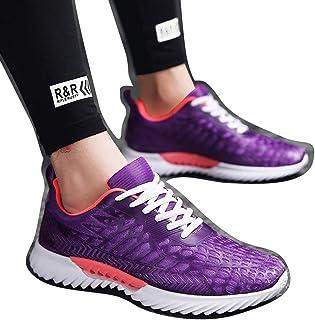 Williess Malla Transpirable Pareja Zapatos Casuales Zapatos para Correr de los Hombres Blancos y Negros (Color : Púrpura, Size : 43)