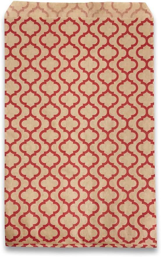 "50 pcs of 4"" x 6"" Red Trellis/Kraft Paper Gift Bags â"