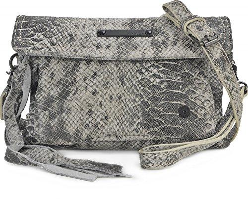 Tyoulip Sisters, Damen, Handtaschen, Umhängetaschen, Clutch, Unterarmtaschen, Schlangenoptik, Hellgrau, 19,5 x 13 x 6 cm (B x H x T)