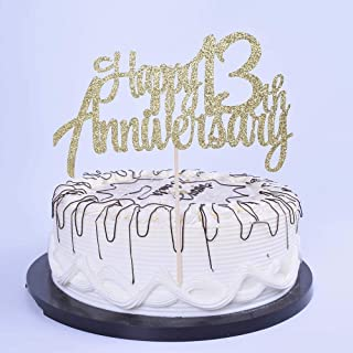 YUINYO 13th Anniversary Party Decoration Gold Glitter 13th Happy Anniversary Cake Topper - Forever 13 Party Favors 13th An...