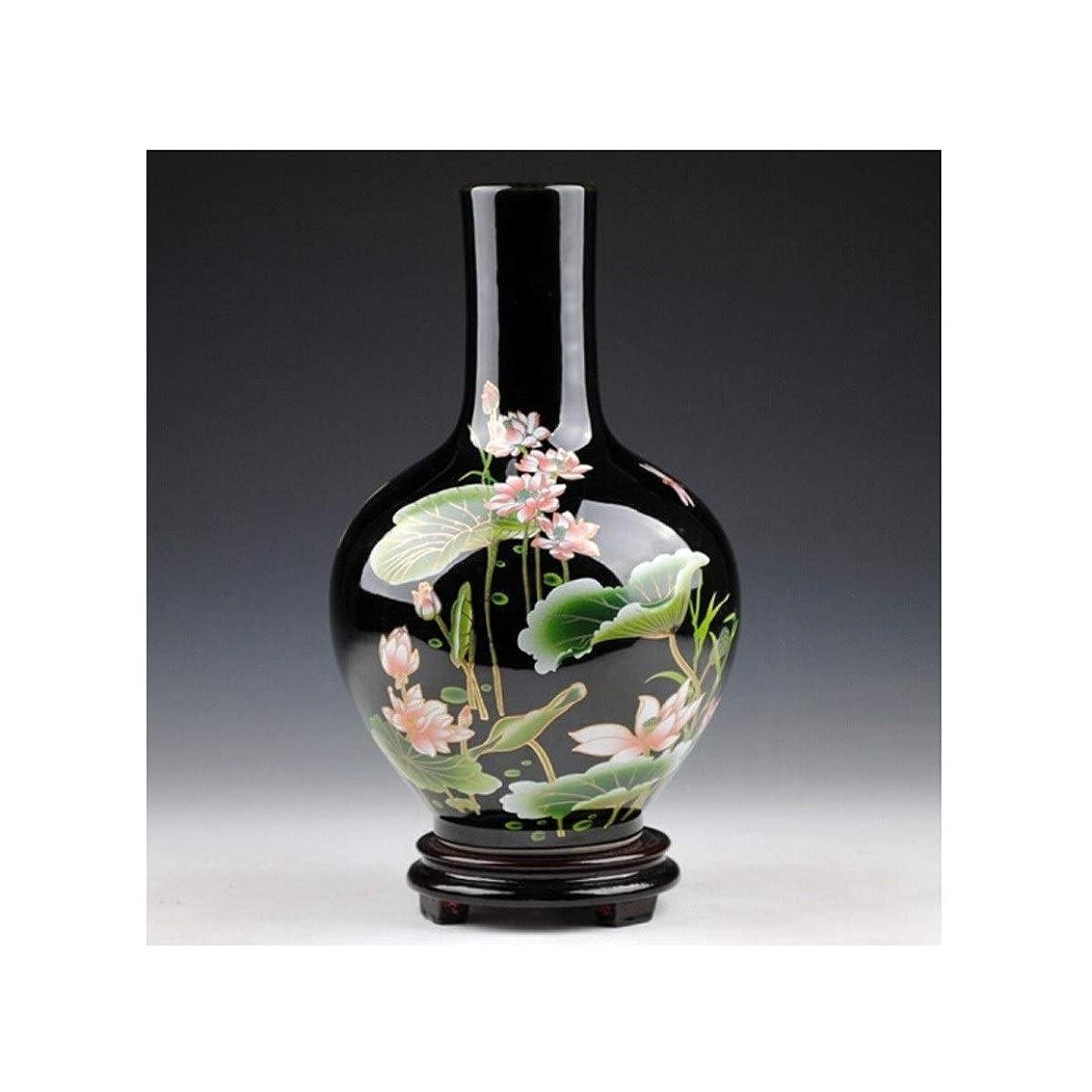 ウルル逆説抑圧者ZGSH エレガントな花瓶セラミック花瓶の装飾リビングルーム花柄ブラックゴールド釉リビングルームワインキャビネットデコレーションクラフトデコレーション (Size : 24*15cm)