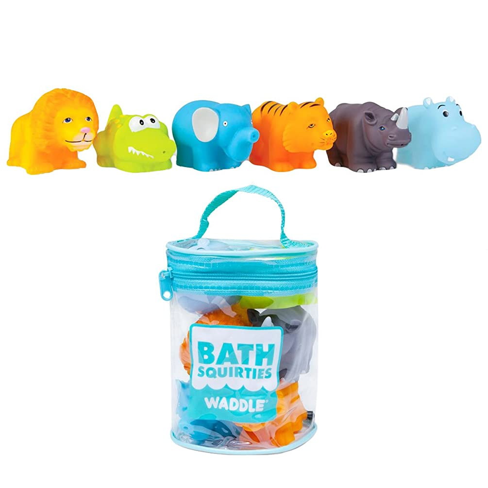 Waddle Baby Bath Toys Safari Jungle Animals 6 Pack Lion Elephant Tiger and More