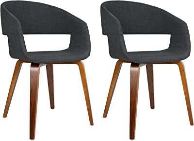 2 x Artiss Dining Chairs, Wooden Fabric Upholstered Dining Chairs, Charcoal