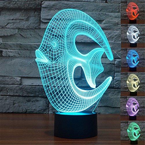 Coral Fish 3D noche luz táctil escritorio lámparas HAIYU 7 colores cambiantes ilusión luces con acrílico plana y base ABS y cargador USB para regalo de Navidad