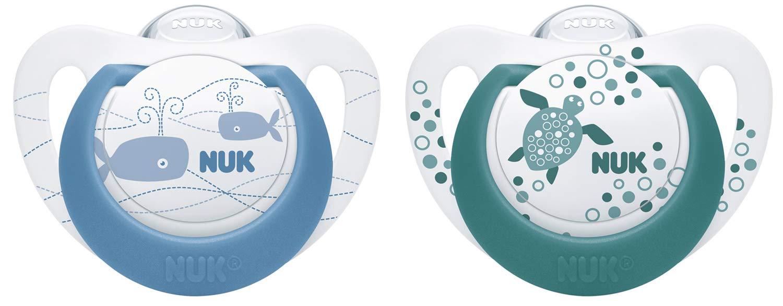 rosa NUK 10175261 Genius Color Silikon-Schnuller kiefergerechte Form lila /& gr/ün 2 St/ück 0-6 Monate