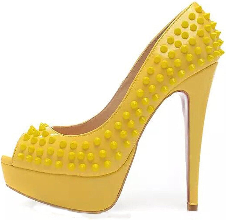 MAVIRS Women's Cyjk Peep Toe Stiletto Platform Pumps High Heel shoes Handmade Party Dress 7 M US