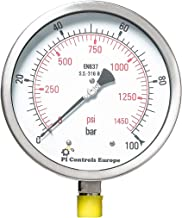 PI Controls UK Pressure Gauge, PG-150-R100-WF-SS