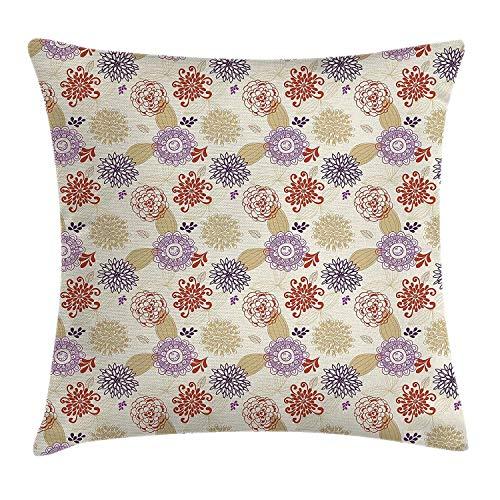 Butlerame Funda de Almohada Beige, Flores ornamentadas de Colores y Flores de Hojas, Arte étnico de remolinos Florales Bohemios, 18 x 18 Pulgadas, Rojo púrpura Beige