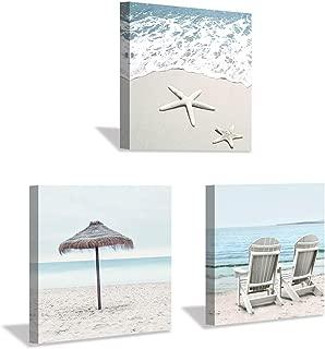 Beach Scene Canvas Wall Art: Starfish & Chair Artwork Seaside Painting Print for Living Room (16'' x 16'' x 3 Panels)