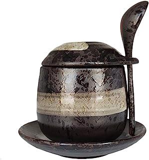 MASSJOY Japanese Style Stoneware Steamed Egg Cup, Bird'S Nest Stew Pot, Dessert Pot, Seasoning Jar. (With Spoon And Saucer)