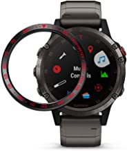 Abanen for Fenix 5/Fenix 5 Plus Watch Bezel,Stainless Steel Sculptured Tachymeter Cover Anti-Scratch Protection Watch Bezel for Garmin Fenix 5/Fenix 5 Plus (Black-Red)