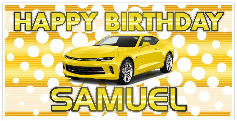 Popularity Yellow Classic Muscle Car Chevy Personali Omaha Mall Banner Camaro Birthday
