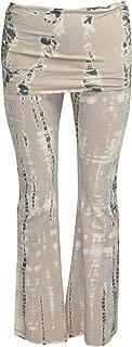 Hard Tail Womens Slouchy Waist Tie Dye Flare Pants Beige Tie Dye Extra Small, Medium