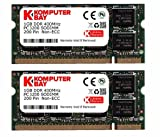 Komputerbay - Módulo de memoria SODIMM para portátil (200 pines, 400 Mhz, DDR400, PC3200) 2GB (2x1GB)