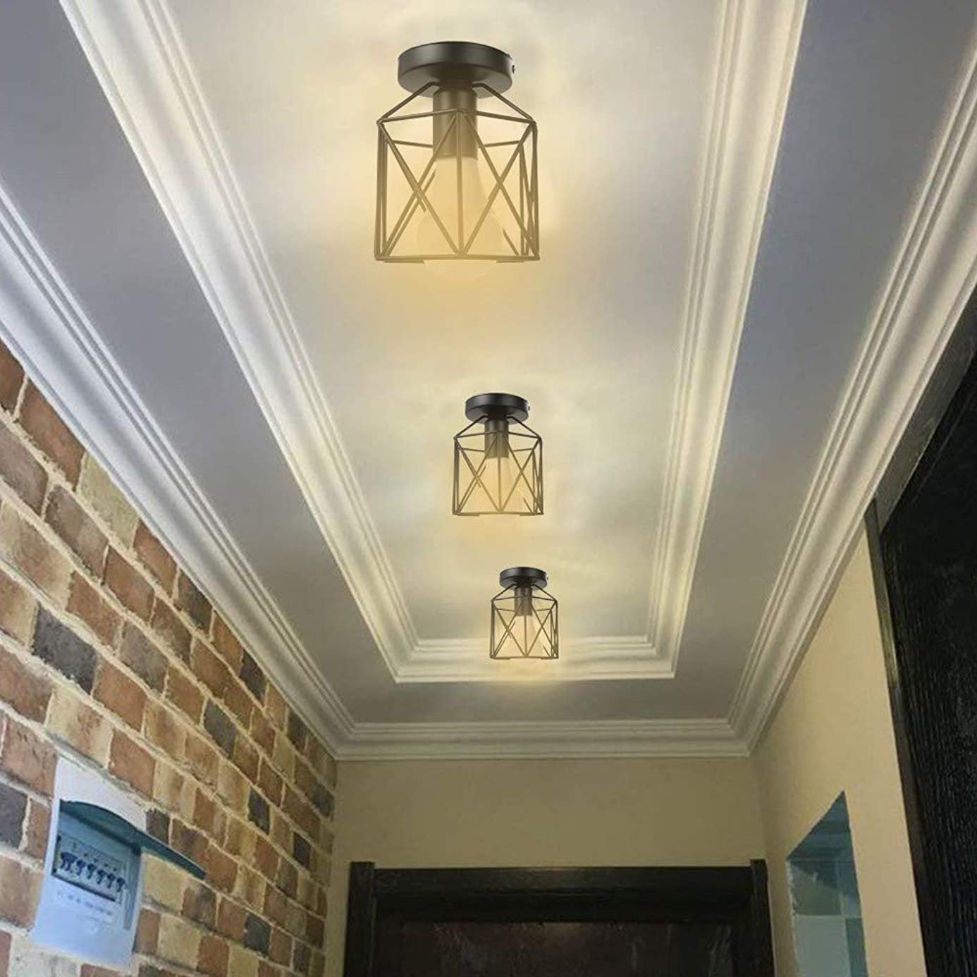 Light Shades for Light Fixtures, Metal Cage Ceiling Light Industry Vintage Home Pedant Lighting Bulb Included (Ship from US!!!)
