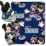 The Northwest Company Officially Licensed NFL New England Patriots Co Disney's Mickey Mouse Hugger and Fleece Throw Blanket Set, Blue, 40' x 50'