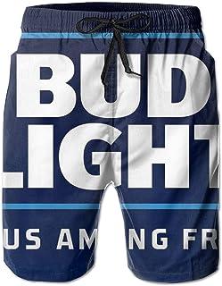 6c529c95b8638 Bud Light Print Design Mens Swim Trunks Summer Quick Dry Board Shorts with  Mesh Lining/