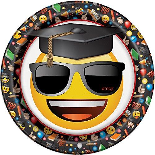 Unique Party - Platos de Papel - 23 cm - Diseño de Graduación Emoji - Paquete de 8 (50875)